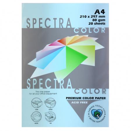 Бумага цветная А4, 80г/кв.м., 20л, пастель, светло-синий Spectra Color 120