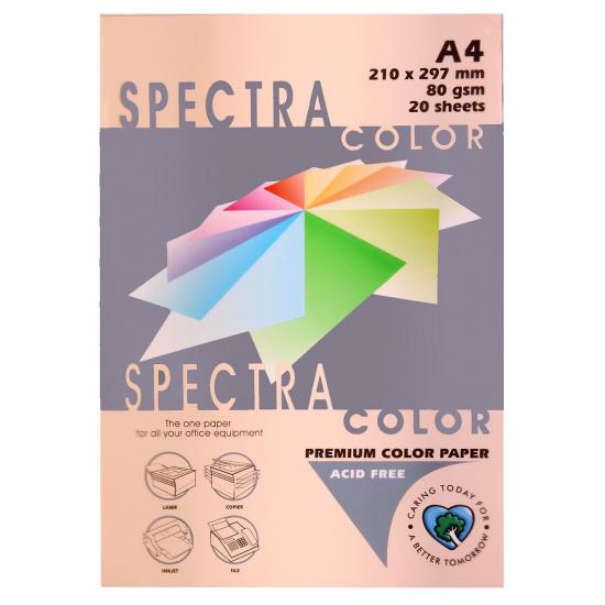 Бумага цветная А4, 80г/кв.м., 20л, пастель, персиковый Spectra Color 150