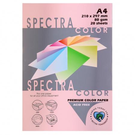 Бумага цветная А4, 80г/кв.м., 20л, пастель, розовый Spectra Color 140