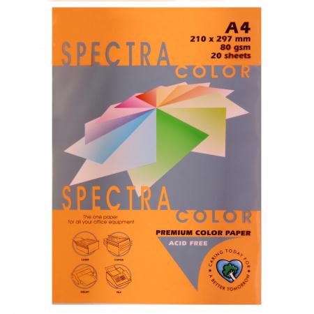 Бумага цветная А4, 80г/кв.м., 20л, неон, оранжевый Spectra Color 371
