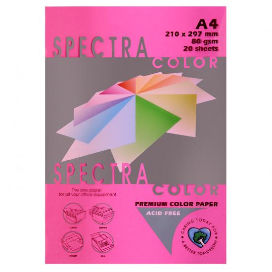 Бумага цветная А4, 80г/кв.м., 20л, неон, малиновый Spectra Color 350