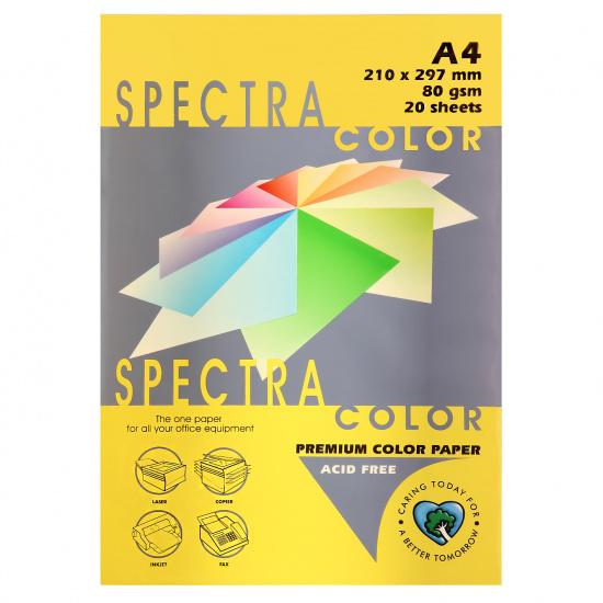 Бумага цветная А4, 80г/кв.м., 20л, пастель, лимонный Spectra Color 210