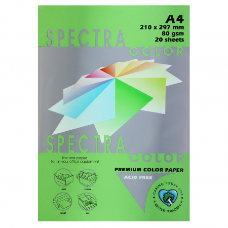 Бумага цветная А4, 80г/кв.м., 20л, пастель, зеленый Spectra Color 230