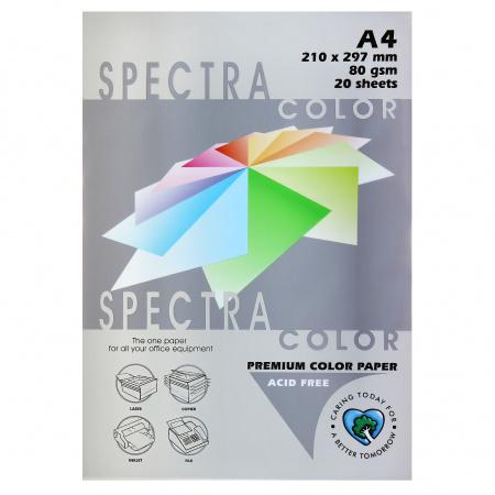 Бумага цветная А4, 80г/кв.м., 20л, пастель, платиновый Spectra Color 272
