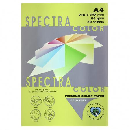Бумага цветная А4, 80г/кв.м., 20л, неон, зеленый Spectra Color 321