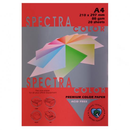 Бумага цветная А4, 80г/кв.м., 20л, пастель, красный Spectra Color 250