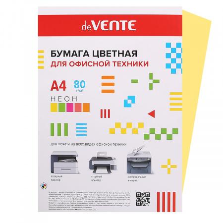 Бумага цветная А4, 80г/кв.м., 50л, неон, оранжевый deVENTE 2072941