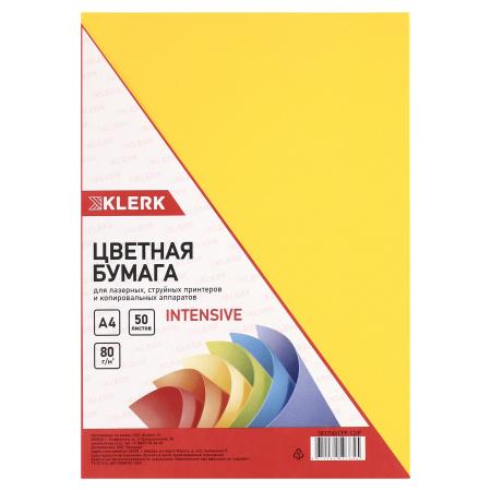 Бумага цветная А4, 80г/кв.м., 50л, интенсив, желтый KLERK 183700-CPP-12-Р