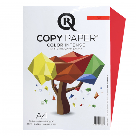 Бумага цветная А4, 80г/кв.м., 50л, интенсив, огонь Rcopy
