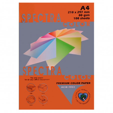 Бумага цветная А4 80г/м2 100л Spectra Color №240 оранжевый