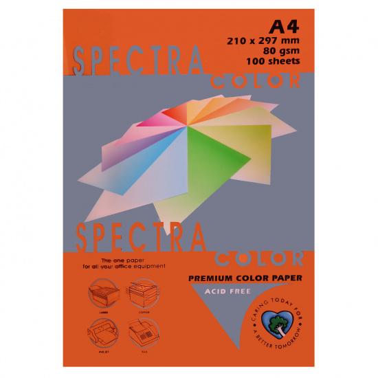 Бумага цветная А4, 80г/кв.м., 100л, интенсив, оранжевый Spectra Color 240