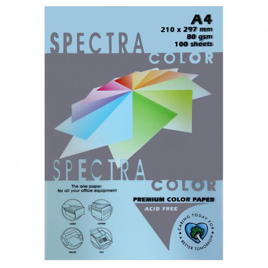 Бумага цветная А4, 80г/кв.м., 100л, пастель, голубой Spectra Color 180