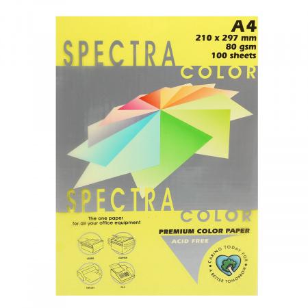 Бумага цветная А4, 80г/кв.м., 100л, неон, желтый Spectra Color 363