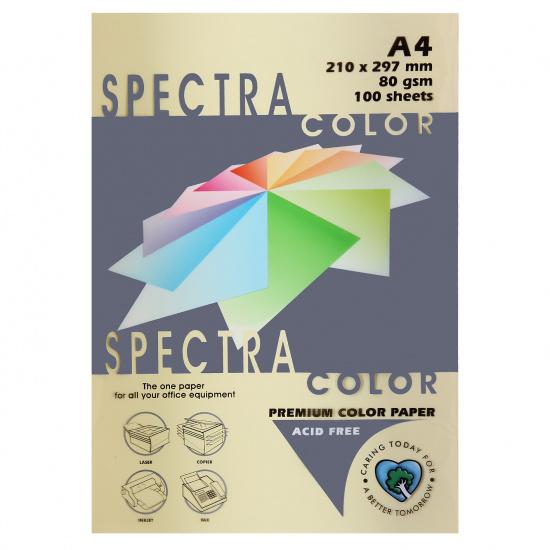 Бумага цветная А4, 80г/кв.м., 100л, пастель, кремовый Spectra Color 110