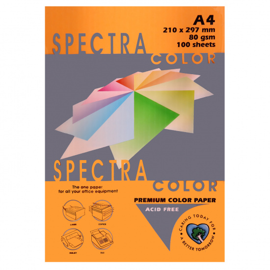 Бумага цветная А4, 80г/кв.м., 100л, неон, оранжевый Spectra Color 371
