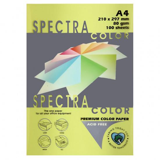 Бумага цветная А4, 80г/кв.м., 100л, интенсив, лимонный Spectra Color 210