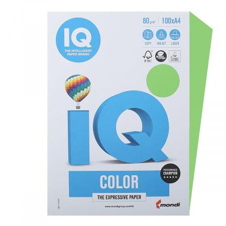 Бумага цветная А4 80г/м 100л IQ Color 78423 42 ярко-зел