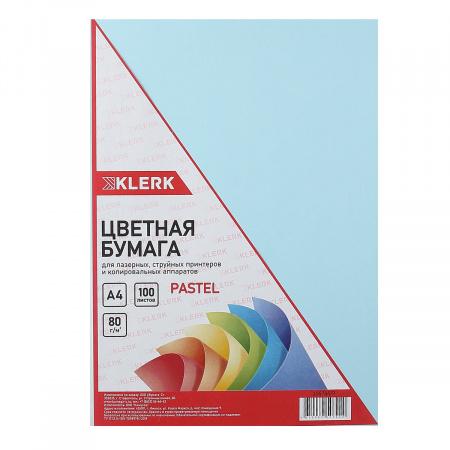 Бумага цветная А4 80г/м2 100л пастель KLERK 206786/Р голубой