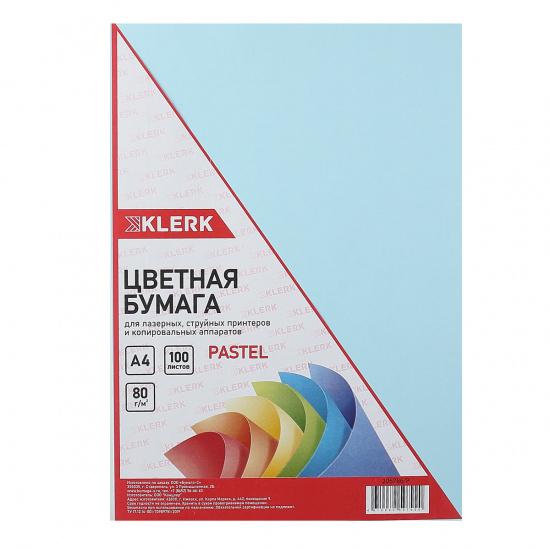 Бумага цветная А4, 80г/кв.м., 100л, пастель, голубой KLERK 206786-Р