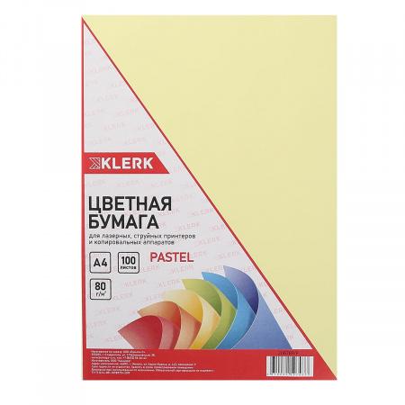 Бумага цветная А4, 80г/кв.м., 100л, пастель, желтый KLERK 206789-Р