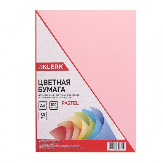 Бумага цветная А4, 80г/кв.м., 100л, пастель, розовый KLERK 206793-Р
