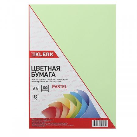 Бумага цветная А4 80г/м2 100л пастель KLERK 206796/Р зеленый