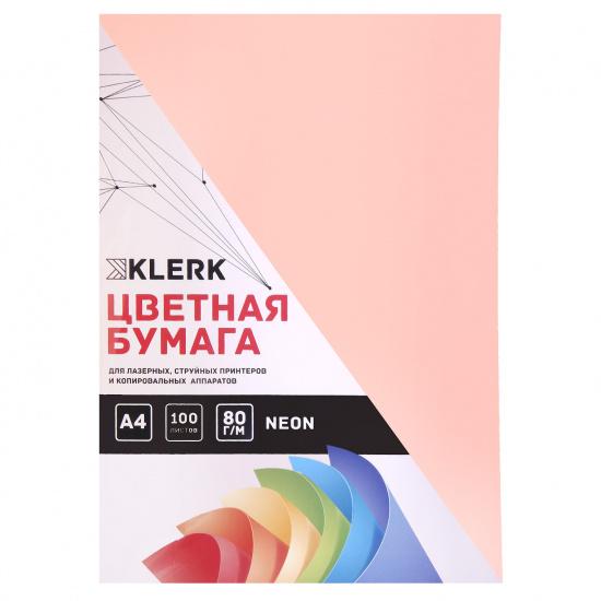 Бумага цветная А4, 80г/кв.м., 100л, неон, светло-розовый KLERK 183703-FP-14