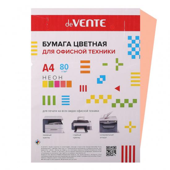 Бумага цветная А4, 80г/кв.м., 100л, неон, розовый deVENTE 2072948