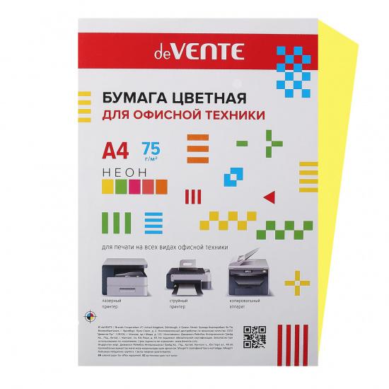 Бумага цветная А4, 80г/кв.м., 100л, неон, желтый deVENTE 2072944