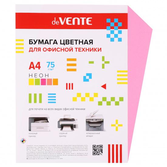 Бумага цветная А4, 80г/кв.м., 100л, неон, малиновый deVENTE 2072946