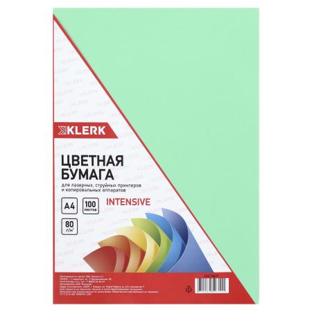 Бумага цветная А4 80г/м2 100л интенсив KLERK 206798/Р зеленый