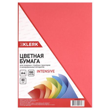 Бумага цветная А4, 80г/кв.м., 100л, интенсив, красный KLERK 206803-Р