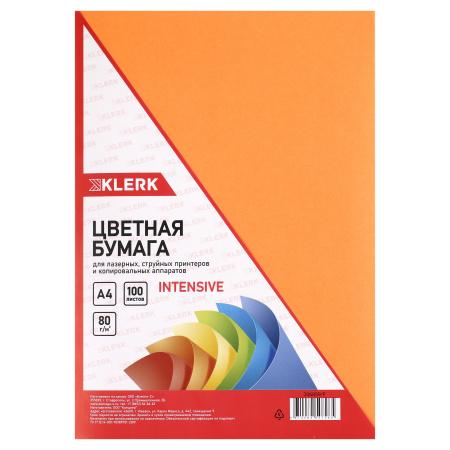 Бумага цветная А4 80г/м2 100л интенсив KLERK 206809/Р оранжевый