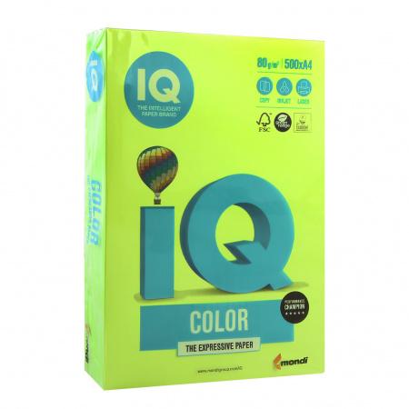 Бумага цветная А4 80г/м2 500л неон IQ Color 00-00012629/65157 зеленый