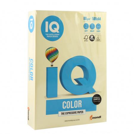 Бумага цветная А4, 80г/кв.м., 500л, пастель, желтый IQ Color Mondi 00-00000664