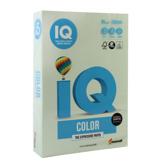 Бумага цветная А4, 80г/кв.м., 500л, пастель, светло-зеленый IQ Color Mondi 00-00000657