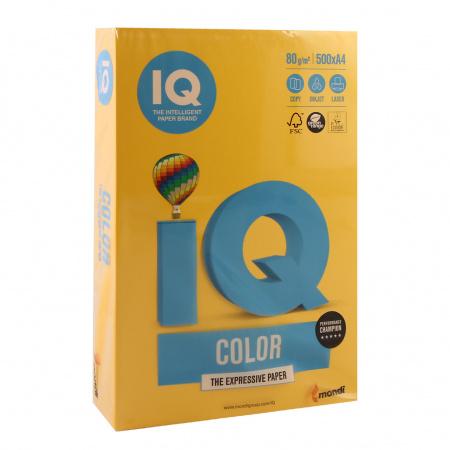 Бумага цветная А4, 80г/кв.м., 500л, интенсив, желтый IQ Color Mondi 00-00012620