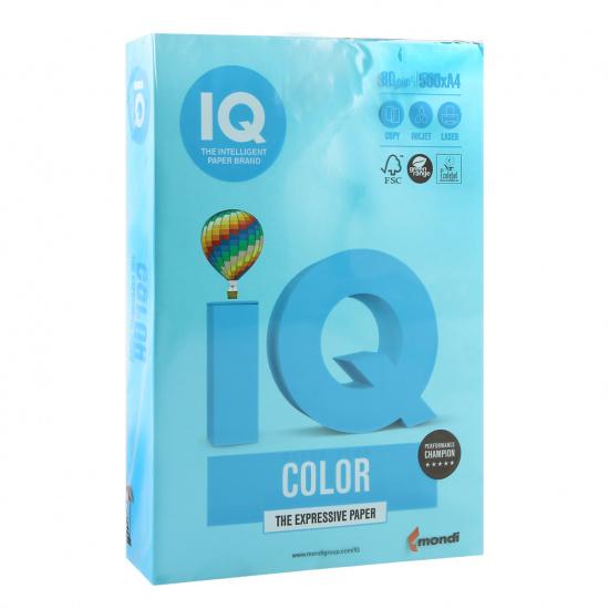 Бумага цветная А4, 80г/кв.м., 500л, интенсив, синий светлый IQ Color Mondi 00-00012634