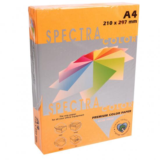 Бумага цветная А4, 75г/кв.м., 500л, неон, оранжевый Spectra Color 371