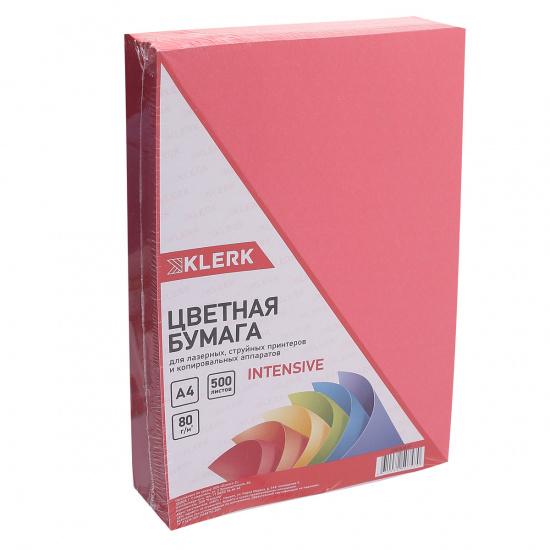 Бумага цветная А4, 80г/кв.м., 500л, интенсив, красный KLERK 206804-Р