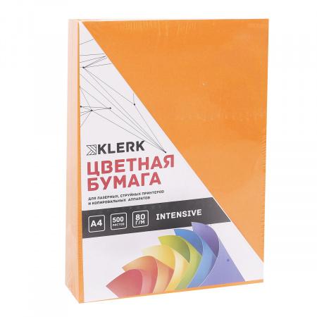 Бумага цветная А4 80г/м2 500л интенсив KLERK 206810/Р оранжевый