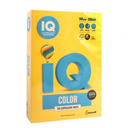 Бумага цветная А4, 160г/кв.м., 250л, интенсив, желтый IQ Color Mondi 00-00000554