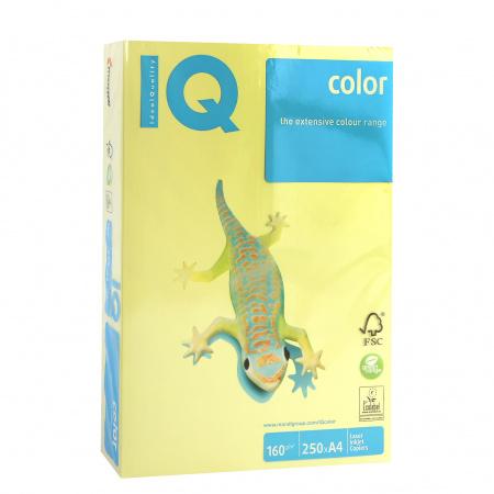 Бумага цветная А4, 160г/кв.м., 250л, интенсив, желтый IQ Color Mondi 00-00000573