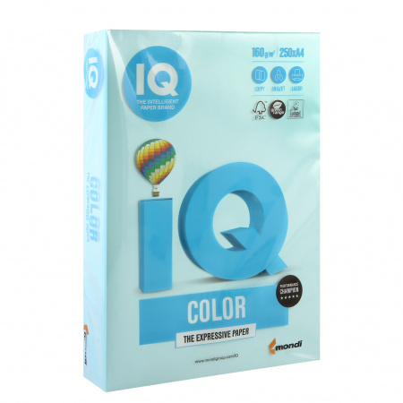 Бумага цветная А4 160г/м 250л IQ Color 00-00000562/65171 30 голубой
