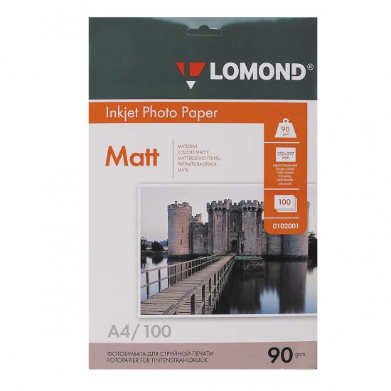 Фотобумага Lomond Ink Jet А4, 90г/кв.м, 100л, матовая 0102001