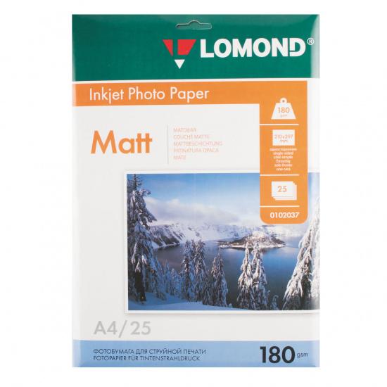 Фотобумага Lomond Ink Jet А4, 180г/кв.м, 25л, матовая 0102037