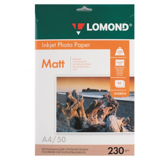 Фотобумага Lomond Ink Jet А4, 230г/кв.м., 50л, матовая 0102016