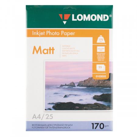 Фотобумага Lomond Ink Jet А4, 170г/кв.м., 25л, матовая, двусторонняя 0102032