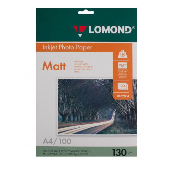 Фотобумага Lomond Ink Jet А4, 130г/кв.м., 100л, матовая, двусторонняя 0102004
