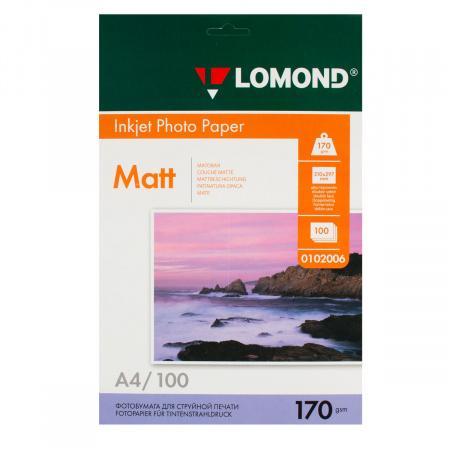 Фотобумага Lomond Ink Jet А4, 170г/кв.м., 100л, матовая, двусторонняя 0102006